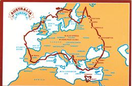 Big Postcard Of Map,Australia Set Over Europe,Size=160mmx110mm.APROX,L43. - Postcards