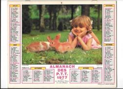 Calendrier 1977, Almanach Des PTT,postes, Fille Lapins, Joies De La Neige ,Departement 13 Double Face - Calendars