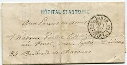 PARIS Cachet Taxe 15C N°2531 Bureau BS1 En Noir ( Non Repris Par POTHION) Avis De Decès Hopital ST ANTOINE Du 01/05/1861 - Marcophilie (Lettres)