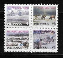 Philippines 1992 Mt Pinatubo Fund Block Of 4 MNH - Philippines