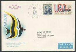 Guam États-Unis 1970 PA 71 840 FDC Aviation JAL Vol Tokyo Guam Poissons Oblitération Agana - Guam
