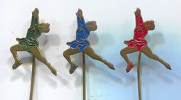 Ice Figure Skating -  Vintage Pin, Badge, Abzeichen 1960s, 3 Pcs - Skating (Figure)