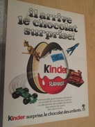 Page De Revue Des Années 60/70 : PUBLICITE CHOCOLAT SURPRISE KINDER   , Dimension Page  A4 - Otros