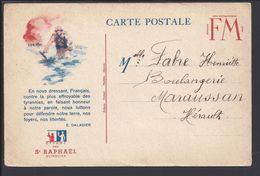 FR - Carte FM Illustrée, Publicité Quiquina St Raphael, Correspondance Pour Maraussan, écrite Le 2 Mai 1940 - B/TB - - Postmark Collection (Covers)