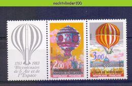 Mub185 TRANSPORT LUCHTVAART VLIEGTUIGEN LUCHTBALLON HOT AIR BALLOON FLUGZEUG FRANCE 1983 PF/MNH - Luchtballons