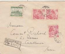 Pologne Lettre Recommandée SOSNOWIEC 1939 Pour Casablanca Maroc - étiquette Contrôle Devises - Briefe U. Dokumente