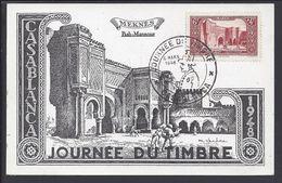 """MAROC - Carte Postale """"Meknès Bab-Mansour"""" Journée Du Timbre Casablanca 6 Mars 1948 - T/B - - Morocco (1891-1956)"""
