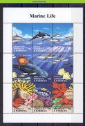Neh002b FAUNA VISSEN WHALE ORKA CORAL LOBSTER DOLPHIN SHARK FISH POISSONS MARINE LIFE ANTIGUA & BARBUDA 1994 PF/MNH - Maritiem Leven