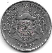 *belguim 20 Francs 4 Belgas 1932 French Pos B  Vf - 1909-1934: Albert I
