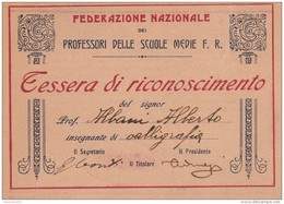 TESSERA DI RICONOSCIMENTO PRIMI 900 PROFESSORE (SY103 - Timbri Generalità