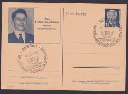 Frederic Joliot-Curie Bildpostkarte Mit SSt. DESSAU Bfm-Schau 1952 DDR P52/02 - Postales - Usados