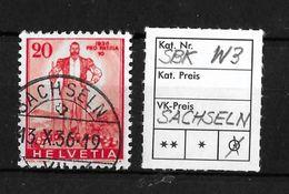 1936 SONDERMARKEN PRO PATRIA → SBK-W3, 13X.36  ►SACHSELN◄ - Gebraucht