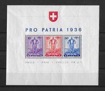 1936 SONDERBLOCK PRO PATRIA → Eidg. Wehranleihe, SBK-W8* - Blocks & Kleinbögen