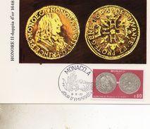 CARTE MAXIMUM  MONACO  MONAIE   TIMBRE   N° YVERT ET TELLIER 1112  1977 - Cartoline Maximum