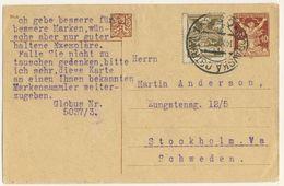 (P75) - TCHECOSLOVAQUIE - UPRATED POSTCARD  - MORAVSKA OSTRAVA => SWEDEN 1921 - Czechoslovakia