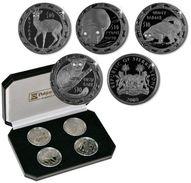 SIERRA LEONE 2008 SET 4 COINS NOCTURNAL ANIMALS 113.12GR 4X10dollars Silver PEARL BLACK FINISH + 8 Diamonds Coa AND BOX - Sierra Leone