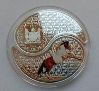 FIJI 2014 SET 2 COINS YEAR OF HORSE YIN-YANG FORM 62.2 GR 2X1dollar Silver COA AND BOX - Fiji