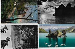 4 AK CP Montreux-Clarens, Territet, Chateau De Chillon, Ile De Salangnon - VD Vaud