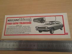 Page De Revue Des Années 60/70 : PUBLICITE MECCANO VOITURE TELEGUIDEE  Format : Voir Règle Sur La Photo - Meccano