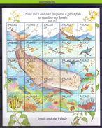 Neh009c FAUNA WALVIS VISSEN FISH JONAH AND THE WHALE SHARK RAY DOLPHINS TURTLES BIRDS MARINE LIFE PALAU 1993 PF/MNH # - Maritiem Leven