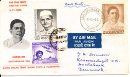 India FDC 5-11-1965 Chittaranjan Das Uprated And Sent To Denmark 16-3-1966 With More Topic Stamps - FDC