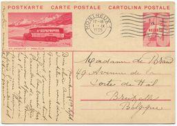1721 -   20 Rp. Bildlipostkarte Nach Bruxelles Bild ST. MORITZ - MALOJA - Postauto - Ganzsachen