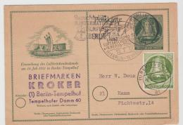 Bln235 / Ganzsache Mit Zusatzfrankatur Mit Ausgefallener Stempelkombination, Berlin SW Nach Hamm - Postkarten - Gebraucht