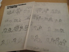 Page De Revue Des Années 70/80 : HERGE TINTIN 3 PLANCHES INEDITES DE TINTIN , 3 FEUILLES A4 - Hergé