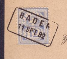 """Carte Journal """"Schweizerische Volkszeitung"""" Obl Baden 11.09.1882 Affr Chiffre 12Rp --> Würenlingen - Briefe U. Dokumente"""