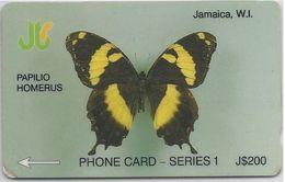 JAMAICA - PAPILIO HOMERUS - BUTTERFLY - 8JAMD - Jamaica