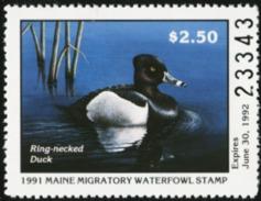 MAINE 1991 USA State Ducks Birds Hunting Wildlife Fauna MNH - United States