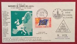 TEMATICA EUROPA FRANCIA  BUSTA N. 0572 STRASBURGO CONSIGLIO D'EUROPAPER IL LIBERO SCAMBIO   22/7/1972 - Altri