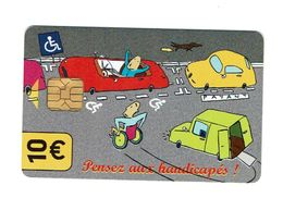 """Carte De Stationnement Paris :""""PENSEZ Aux HANDICAPES""""[10 Euros] SCAN NON CONTRACTUEL VENTE EN NOMBRE // IMPECCABLES - France"""