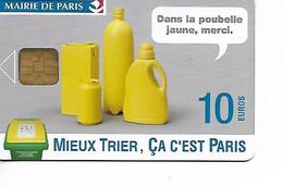 """Carte Stationnement Mairie De PARIS 10 Euros """"MIEUX TRIER ça C'est Paris""""  Poubelle Jaune Merci / TTBE - Francia"""