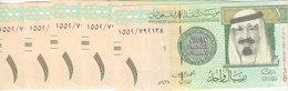 SAUDI ARABIA 1 RIYAL 2016 P-31new  KING Abd ALLAH UNC LOT X5  NOTES */* - Saudi Arabia
