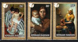 RUANDA - 1975 - OPERE D'ARTE: CASSATT, MELCHERS, VERMEER - NUOVI MNH - Rwanda