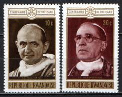 RUANDA - 1970 - I PAPI DEL VATICANO: PAOLO VI E PIO XII - NUOVI MNH - Rwanda