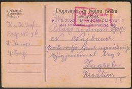 Austria / WW1 / Field Post KuK 2/XX Marschkompagnie Des Infanterieregiments No. 96 / Sent To Zagreb Croatia / Zensuriert - 1850-1918 Impero