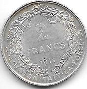 Belguim 2 Francs   1911  French  Xf+ !!!!! - 08. 2 Francs