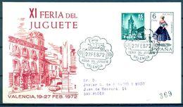 SOBRE CONMEMORATIVO , 1972 , XI FERIA DEL JUGUETE DE VALENCIA - Juegos
