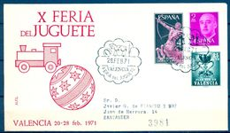 SOBRE CONMEMORATIVO , 1971 , X FERIA DEL JUGUETE DE VALENCIA - Juegos