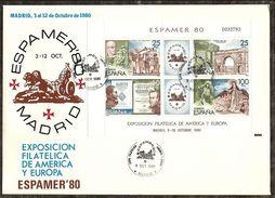 1980-ED. 2583 H.B.-ESPAMER80-MAT. 1er DIA EN  SOBRE ESPECIAL DE LA EXPO + 3 SOBRES MAS. VER FOTOS - FDC