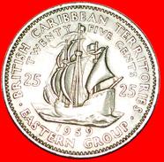 √ SHIP Of Sir Francis Drake (1542-1596): EAST CARIBBEAN TERRITORIES ★ 25 CENTS 1959! LOW START ★  NO RESERVE! - Britse Caribische Gebieden