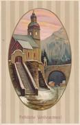 AK Fröhliche Weihnachten - Kirche Brücke Berge - Reliefdruck - Feldpost Landst.-Inf.-Batl. München - 1916 (32186) - Navidad