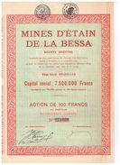 Action Ancienne - Mines D' Etain De La Bessa - Titre De 1925 - Mineral