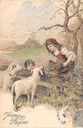 CPA Fantaisie - Joyeuses Pâques - Moutons - Style Vienne - Motifs Gaufrés - Pâques