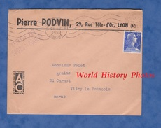"""Enveloppe Commerciale Ancienne - LYON 6e - Pierre PODVIN 29 Rue Tête D'Or - Cachet """" Urgent Cours De Bourse """" - Frankrijk"""