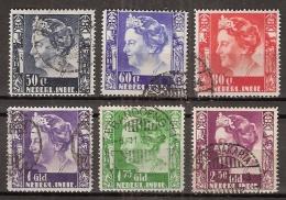 Ned Indie 1934 Wilhelmina Zonder Watermerk (no Watermark) NVPH 205-210 Gestempeld/ Cancelled - Nederlands-Indië