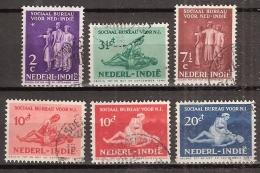 Ned Indie 1939 Sociaal Bureau NVPH 266-271 Gestempeld/ Cancelled. - Indes Néerlandaises