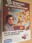 Page De Revue Des Années 70/80 : PUBLICITE  AUTOCOLLANTS DANANONE SOS ANIMAUX , Format : Page A4 - Stickers